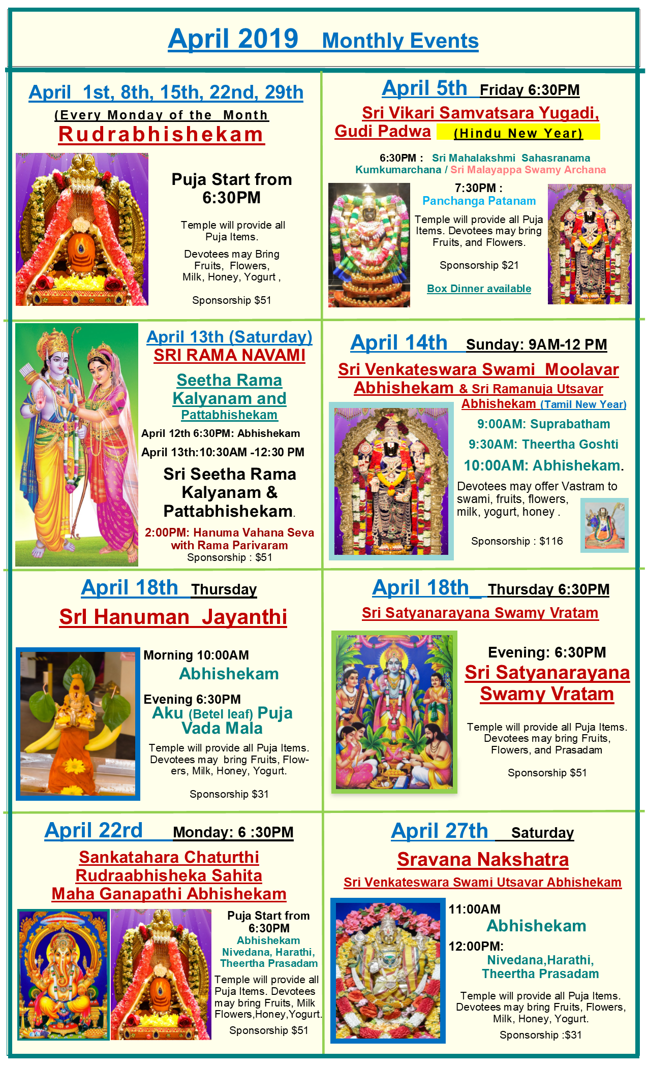 Sravana 2019 Dates