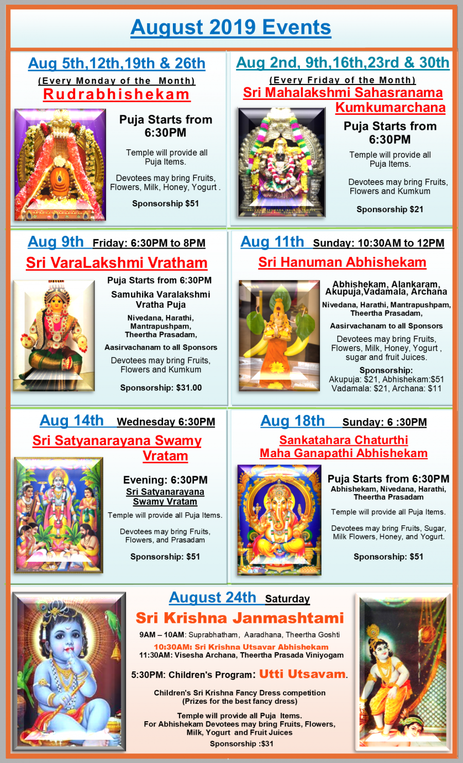 August Monthly and Annual events